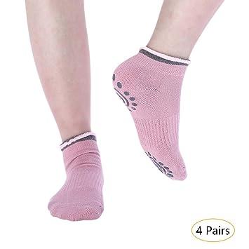 KINDOYO Mujer Calcetines Pilates Yoga - 2/4 Pares Algodón ...