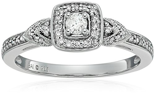 Sterling Silver Diamond 3-Stone Engagement Ring (1/4cttw, I-J Color, 13 Clarity, Size 7 by Amazon Collection