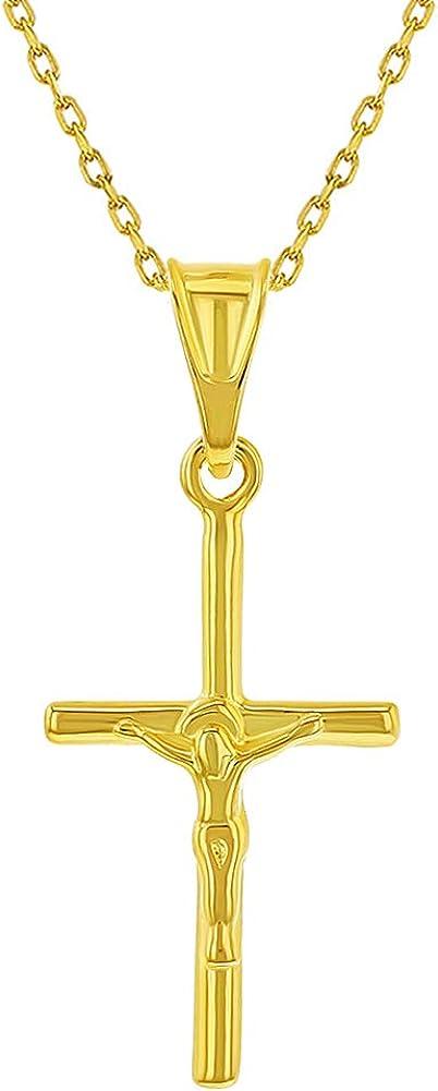 Collar con colgante de crucifijo de cruz de Jesucristo de plata de ley 925 con destellos en oro, 40,6 cm