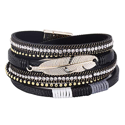 - Multilayer Leather Bracelet Handmade Crystal Wrap Bangle with Magnetic Clasp Leather Wrap Bracelet Bohemian Jewelry Gift for Women and Girl (Black Leather&Feather)