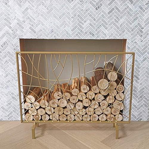 暖炉用品・アクセサリ 単一のパネルアイアン暖炉スクリーンメッシュ、木材バーナー/ガス/レンジ火災のためのゴールドベビー安全ソリッドスパークFireguard、105×22×90センチメートル (Color : Gold)