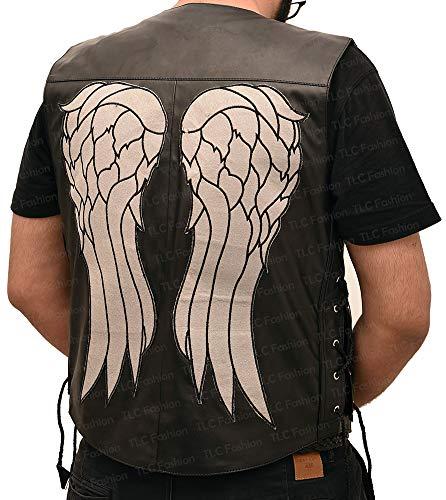 TLC Fashion Men's Daryl Dixon Faux Leather Angel Wings Vest Halloween Costume Black]()