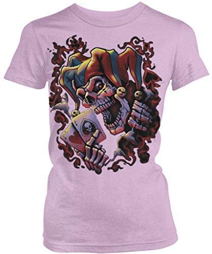Jester Skeleton, Pair of Aces Junior's Ladies T-shirt, Amdesco, Soft Pink Large (Skeleton Jester)