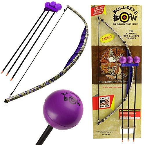 Bullseye Bow Kids Bow and Arrow Set Beginner Archery Toy Purple Camo Training - Bow Bullseye