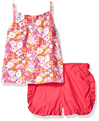 (Isaac Mizrahi Baby Girls' 2 Piece Popover Sleeveless Shirt Set with Shorts, Pink Flowers, 12 Months)