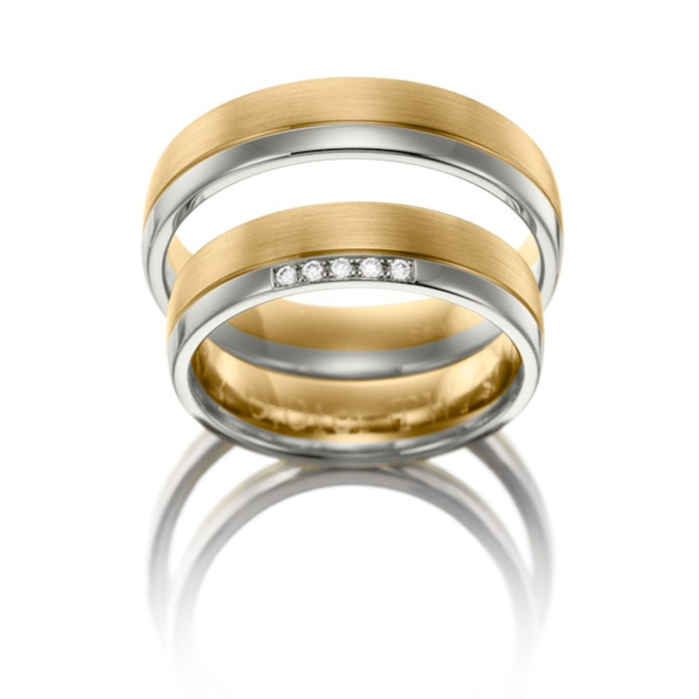 14k White and Yellow Gold Matching Wedding Bands 05 Ct 5 Mm by Appealing Wedding Bands