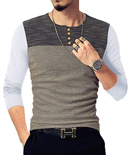 Neoyowo Mens Patchwork Shirt Long Sleeve Contrast Color T-Shirt Casual Stitching Buttons Henley Tops (White, L)