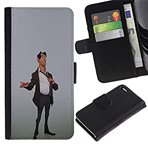 iKiki Tech / Cartera Funda Carcasa - Stock Broker Man Suit Stylish 3D Art Office - Apple iPhone 4 / 4S