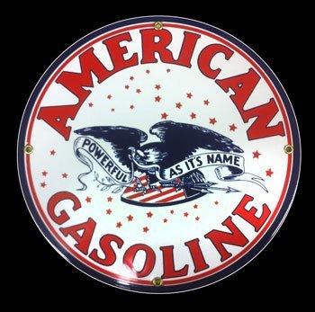 American Gasoline Porcelain Sign