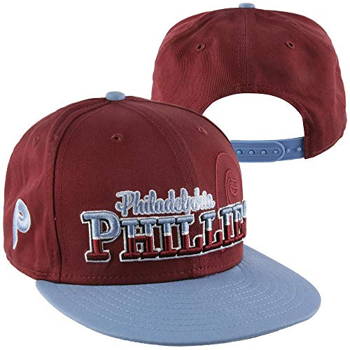Philadelphia Phillies Maroon/Powder Blue Cooperstown Two Tone Plastic Snapback Adjustable Plastic Snap Back -