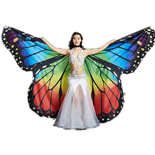 [2017 Performance Costumes Children Exotic Professional Rainbow Butterfly Belly Dance ISIS Wings] (Viennese Waltz Costume)