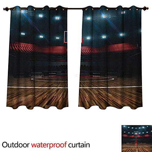 - Anshesix Teen Room Home Patio Outdoor Curtain Professional Basketball Arena Stadium Before The Game Championship Sports Image W108 x L72(274cm x 183cm)