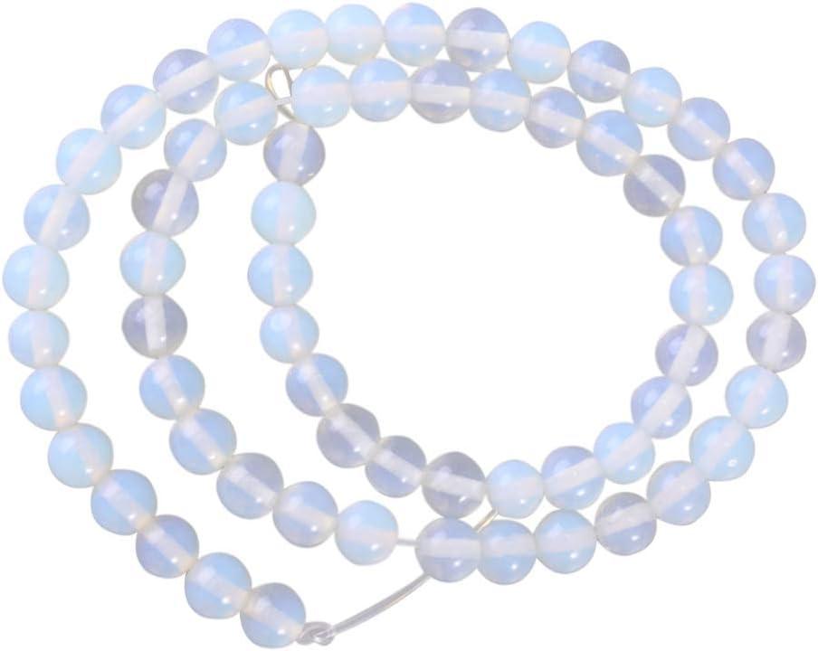 EXCEART Cuentas de piedras preciosas de 6 mm cuentas de cristal redondo cuentas sueltas cuentas de piedra natural diy pulsera collar accesorios