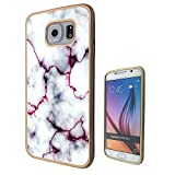 c00803 - Cool Bloggers Favourite White Marble Effect Design Samsung Galaxy S6 Edge Fashion Trend CASE Gold & Clear Gel Rubber Silicone All Edges Protection Case Cover