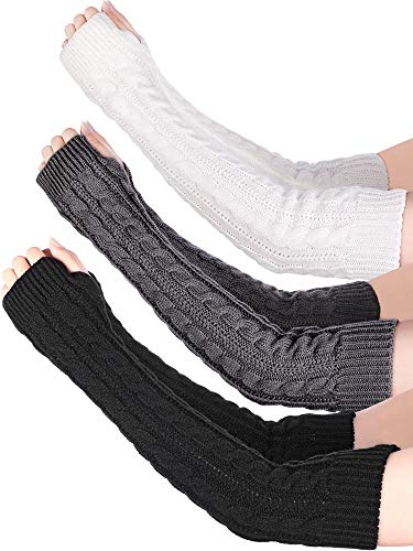 (Bememo 3 Pairs Arm Warmers Winter Long Fingerless Gloves Knit Wrist Warmers with Thumb Hole for Women Girls (Color Set)