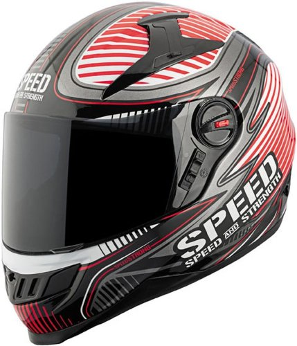 Speed and Strength Speed Strong Full Face SS1300 Motorcycle Helmet (Gloss Red, X-Large)
