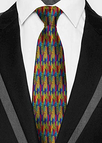 Dad is tying Abstract,Hand Drawn Circles Grunge Style Surreal Designs Checkered Lined Swirled Colorful,Multicolor Suitable for groom dance gift business office