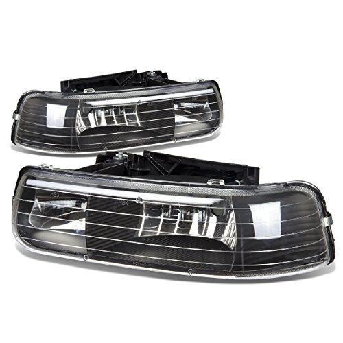 For Chevy Silverado/Tahoe GMT800 2-PC Black Housing Crystal Lens Headlights (Crystal Black Lens)