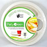 3 Pk, Party Green Plates with Built-in Cup Holder - 12 Pack (Total of 36)