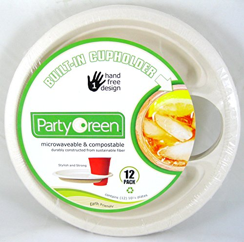 3 Pk, Party Green Plates with Built-in Cup Holder - 12 Pack (Total of 36) (Buffet With Wine Holder)