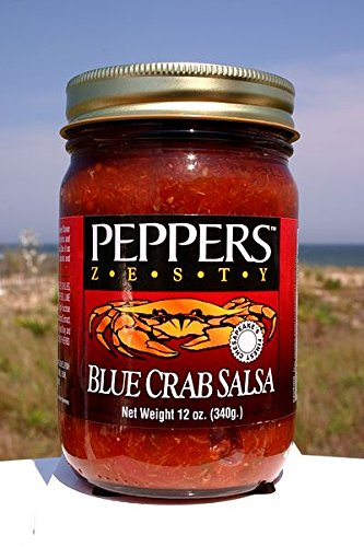 Crab Salsa - Peppers Blue Crab Zesty - (3 Pack of 12 Oz Bottles) - Crab Peppers Blue
