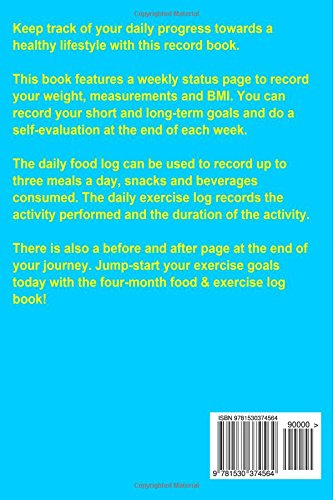 four month food exercise log simply ness 9781530374564 amazon