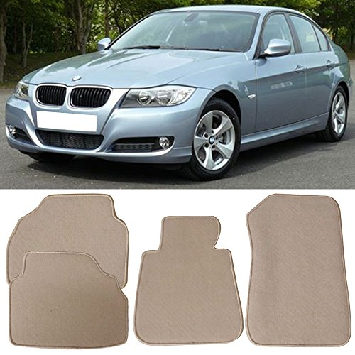 (Floor Mat Fits 2005-2009 BMW E90 3 Series | Front & Rear Beige 4PC Nylon Car Floor Carpets Carpet liner by IKON MOTORSPORTS |  2006 2007 2008)