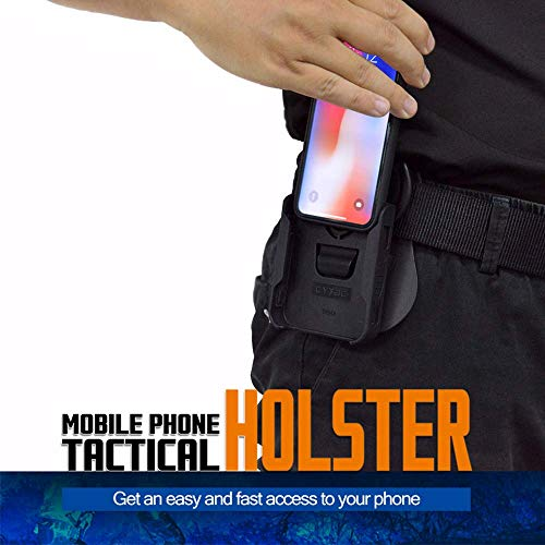 Tactical Cell Phone Holster, 5.5″ Belt Pouch with iPhone 8 Plus Case, Polymer Waist Outdoor Phone Holders EDC for iPhone 6plus/6s plus/7plus/8plus, 360°Adjustable Paddle Holsters-Black