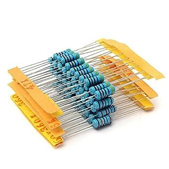 WiMas 1 ohm-1M ohm 1W 100 Value Metal Film Resistor Resistance Assorted Kit 1000Pcs