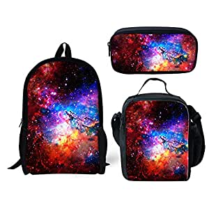 INSTANTARTS Galaxy Backpack Set Lunch Tote School Pencil Box School Bag 3 Pieces Set