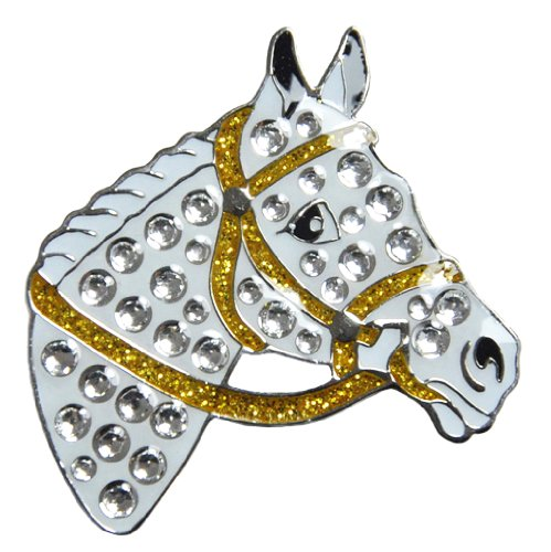 White Horse Ball Marker adorned with Crystals from Swarovski with Magnetic Hat Clip