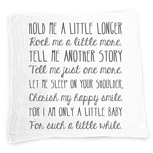 Hold Me A Little Longer Baby Swaddle Blanket by Ocean Drop Designs - Muslin Swaddle Baby Wrap with Baby Quote for Baby Shower, Christening Gift or Baptism Gift - Receiving Blanket, Privacy Throw