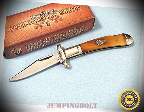 RR1326 SWING GUARD Tobacco bone lockback knife 3 1/2'' closed - Knife for Bushcraft EMT EDC Camping Hunting