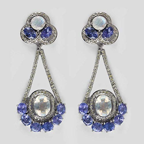 Natural 1.6 Ct. Diamond Pave Tanzanite Moonstone Dangle Earrings 925 Silver Fine Handmade Vintage Jewelry Xmas Gift For Her (Pave Tanzanite Earrings)