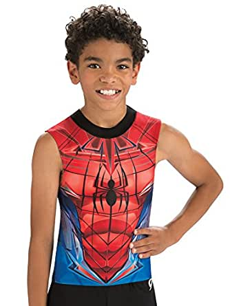 GK Marvel Spider-Man Gymnastics Compression Shirt by Dance, Outdoor Sports & Gymnastics Activewear for Boys | Red and Blue