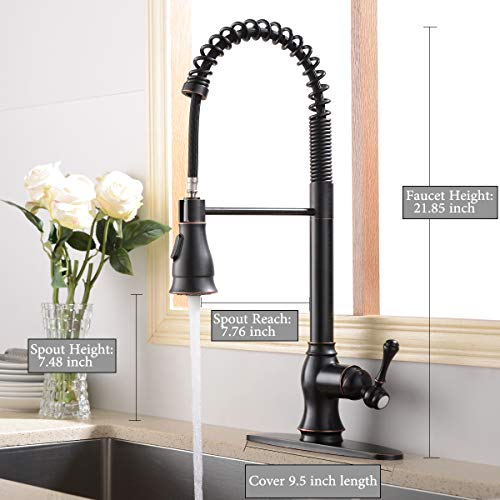 Antique Spring Single Handle Pull Down Sprayer Oil Rubbed Bronze Kitchen Faucet, Kitchen Faucet Bronze With Deck Plate by SHACO (Image #2)
