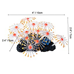Uniclife Glowing Effect Artificial Coral Plant for Fish Tank, Decorative Aquarium Ornament, Orange