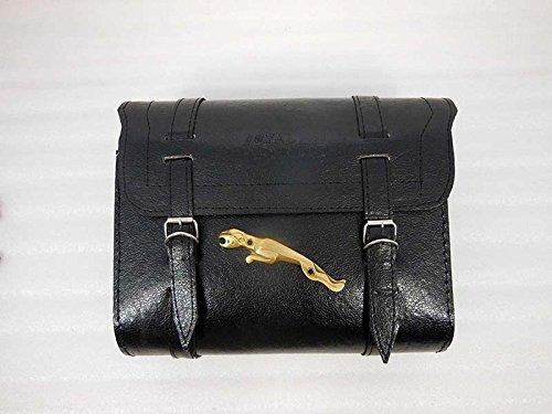 ROYALS GARAGE Customized Royal Enfield Color Saddle Bag With Jaguar Badge Black by ROYALS GARAGE