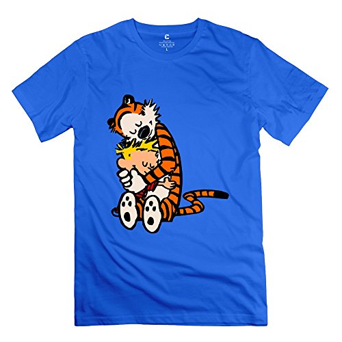Men Calvin And Hobbes Hug Design 100% Cotton RoyalBlue T-Shirt By Mjensen