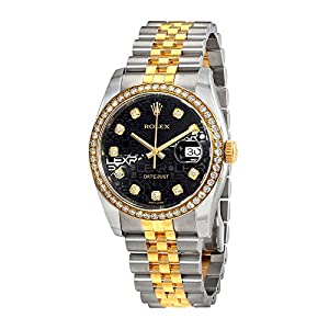 Rolex Oyster Perpetual Datejust 36 Black Jubilee Dial Stainless Steel and 18K Yellow Gold Rolex Jubilee Automatic Mens Watch 116243BKJRJ