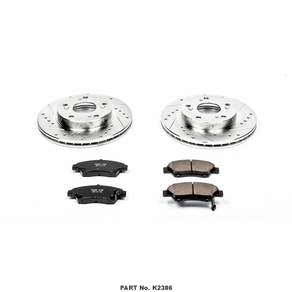 Power Stop K1576 Front Ceramic Brake Pad and Cross Drilled//Slotted Combo Rotor One-Click Brake Kit