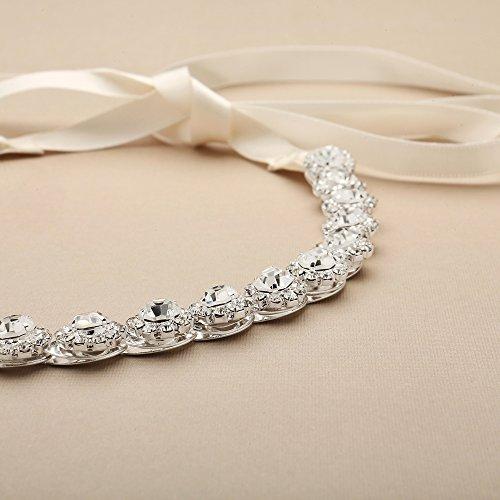 Mariell Silver Wedding Bridal Headband with Round Crystals and Ivory Ribbons