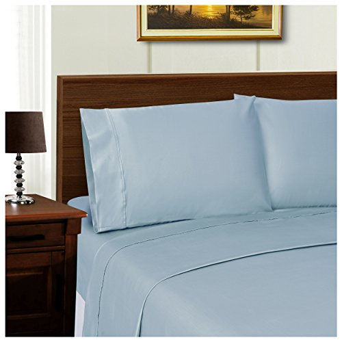 Superior 1000 Thread Count Silky Soft Tencel Blend Wrinkle Resistant, Deep Pocket, 4-Piece Queen Sheet Set, Solid Blue