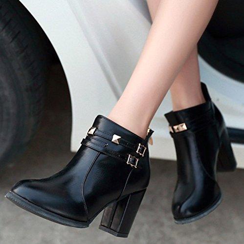 Heeled High Martin Ankle Booties Zipper Back Black Round Short Sexy Toe Easemax High Block Women's B7w18RnqPx
