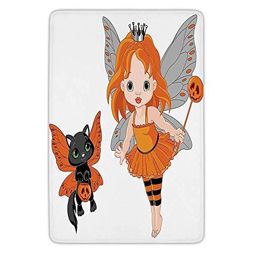 K0k2t0 Bathroom Bath Rug Kitchen Floor Mat Carpet,Halloween,Halloween Baby Fairy Her Cat in Costumes Butterflies Girls Kids Room Decor Decorative,Multicolor,Flannel Microfiber Non-Slip Soft Absorbent