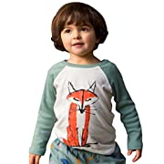 DaySeventh 2017 Baby Kids Boys Girls Long Sleeve Fox Cute T-Shirt Tops (24M, Army Green)