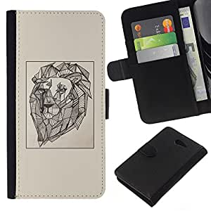 Leather Etui en cuir    Sony Xperia M2    dibujo pintura del arte artista viñeta león @XPTECH