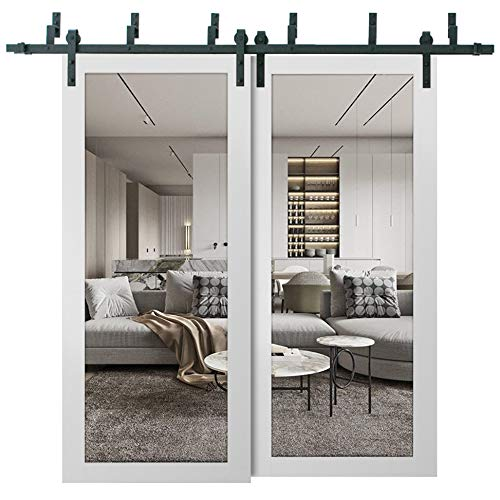 Sliding Closet Clear Glass Barn Bypass Doors 84 x 96 inches | Lucia 2166 White Silk | Sturdy Top Mount 8ft Rails…