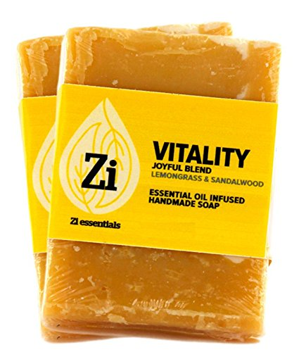 Vitality Joyful Blend (Lemongrass  Sandalwood) Hand Made Soap. 2.5oz Block – Zi Essentials (2 count)…