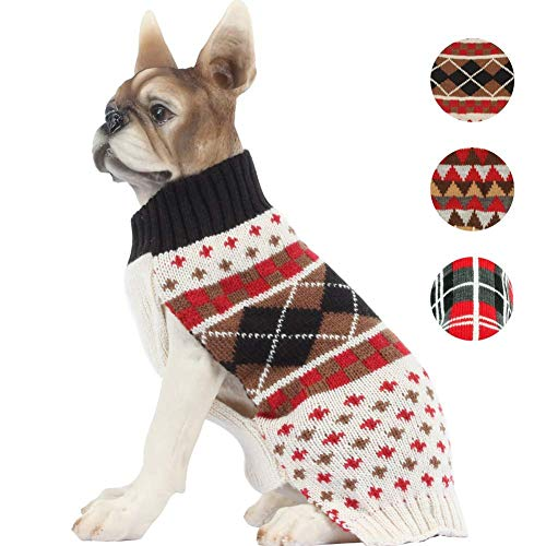 fogohill Dog Sweatshirt Pet Plaid Sweater Knitwear Keep Warm Coat Wearin Stylish Cozy Halloween, Christmas Costumes Plaid2 X-Large -